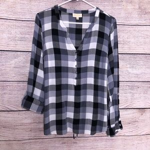 Modcloth Buffalo Plaid Tie Back Blouse